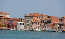 Canal and facades in Murano, Veneto, Italy Stock Photos