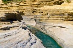 Canal famoso D'amour en Sidari - Corfú, Grecia fotografía de archivo libre de regalías
