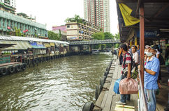 Canal ferry stop in bangkok thailand Stock Images