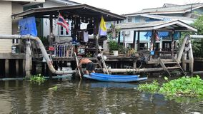 Canal flows into Chao Phraya River at Nonthaburi Thailand stock video footage