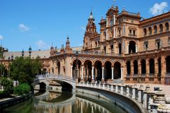 Canal & footbridge, Plaza de Espana, Seville. Stock Photo