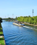 Canal and freight ship Royalty Free Stock Images