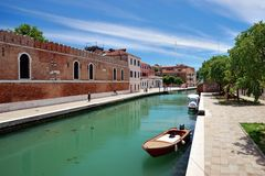 The canal in front of the Arsenal entrance, Venice, Italy Stock Images