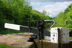 Canal Gate. English canal in a lock Stock Photos