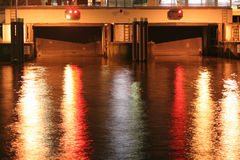 Canal Gates. Night image of the closed canal gates in Hamburg, Germany Royalty Free Stock Images