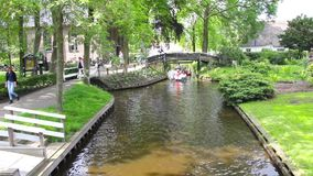 Canal in Giethoorn, The Netherlands stock video