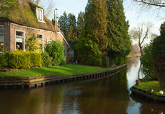 Canal in Giethoorn. Royalty Free Stock Photography