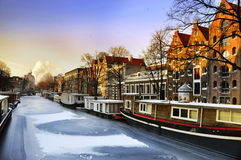 Canal glacial d'Amsterdam Images libres de droits