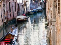 Canal, gondola, boats in Venice Stock Image