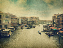 Canal with gondola. Venice. Canal with gondola . Venice. Old style image Royalty Free Stock Image