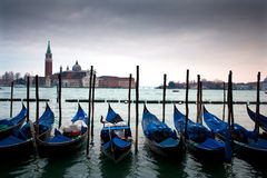 Canal and gondolas Stock Images