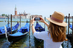 Canal and gondolas with tourist eye Royalty Free Stock Photo
