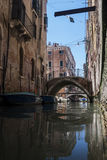 Canal with gondolas in Venice Stock Image