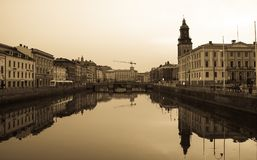 Canal in Goteborg, sepia, Sweden stock photo