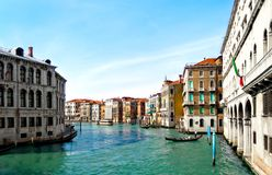Canal Grande. Famous Canal Grande in Venice, view from Rialto Bridge, Italy Stock Images