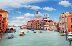 Canal Grande with Basilica di Santa Maria della Salute in Venice Stock Photography
