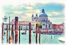 Canal Grande with Basilica di Santa Maria della Salute Royalty Free Stock Images
