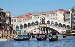 Canal Grande boats traffic Royalty Free Stock Photography