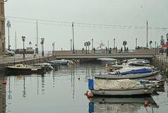 Canal grande with boats in Trieste city center Stock Photo