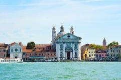 Canal grande con la iglesia de Santa Maria della Visitazione y la iglesia del dei Gesuati, Venecia, Italia, summ de Santa Maria d Fotos de archivo libres de regalías