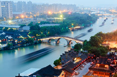 Canal grande di Hangzhou al crepuscolo Fotografia Stock Libera da Diritti