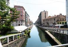 Canal grande di Naviglio, Milano, Italia fotografie stock libere da diritti