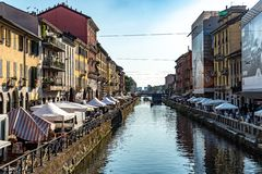 Canal grande di Naviglio, Milano, Italia fotografia stock libera da diritti