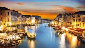 Canal Grande nachts, Venedig Stockbilder