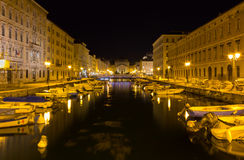 Canal Grande at Night in Trieste Stock Image