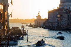 Sunset of Accademia`s bridge. Venice, Italy. Panorama Of The Grand Canal Royalty Free Stock Image