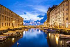 Canal grande in Trieste city center, Italy Royalty Free Stock Photos