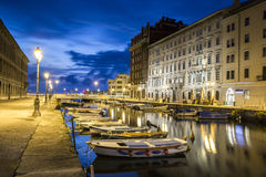Canal grande in Trieste city center, Italy Royalty Free Stock Image
