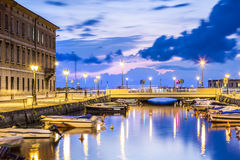 Canal grande in Trieste city center, Italy Stock Images