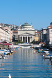 The Canal Grande in Trieste, Italy. The Canal Grande with the Sant\'Antonio Nuovo church in Trieste, Italy Royalty Free Stock Images