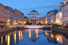 Canal Grande, Trieste, Italy. Scenic view of the Canal Grande in Trieste, Italy at night stock images