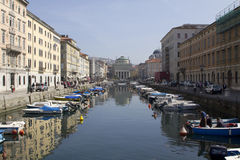Canal grande in Trieste with Saint Anthony church Stock Photo