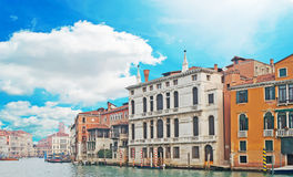 Canal Grande under clouds Stock Photography