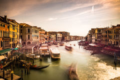 Canal Grande (Venice) - 18 August 2016. View of the sunset in Venice above Rialto Bridge Stock Photos