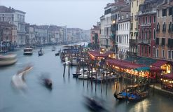 Canal grande in venice by evening Royalty Free Stock Images