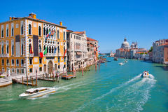 Canal Grande in Venice, Italy. Famous Canal Grande with Basilica Santa Maria della Salute in the background as seen from Ponte dell'Accademia, Venice stock images