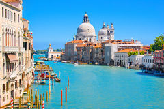 Canal Grande in Venice, Italy. Famous Canal Grande with Basilica Santa Maria della Salute in the background as seen from Ponte dell'Accademia, Venice, Italy Royalty Free Stock Photos