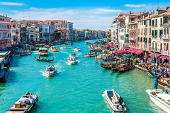 Canal Grande - Venice, Italy. Local activity of people and boats along Canal Grande in Venice, Italy Royalty Free Stock Photos