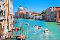 Canal Grande in Venice, Italy. Canal Grande with Basilica Santa Maria della Salute in the background as seen from Ponte dell'Accademia, Venice, Italy stock photo