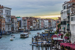 Canal Grande. Venice Italy in sunset Royalty Free Stock Photography
