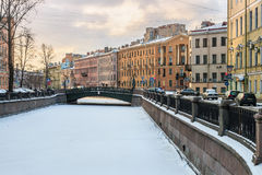 Canal Griboedov in Saint-Petersburg winter morning Stock Image