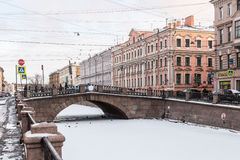 Canal Griboedov in Saint-Petersburg winter morning Royalty Free Stock Image