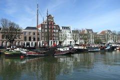 Canal harbour dordrecht the netherlands stock images