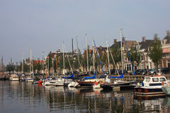 Canal in Harlingen. Yachts moored on the canal in Harlingen Stock Photo