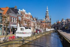 Canal in the historic city center of Bolsward Stock Photography