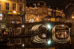 Canal in the Historic Dutch City of Leiden Royalty Free Stock Photo